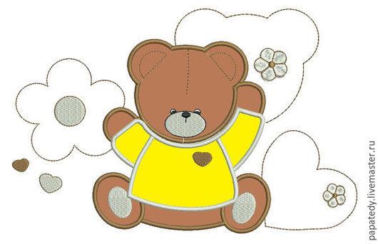Иллюстрации ручной работы. Ярмарка Мастеров - ручная работа. Купить мишка апликация дизайн машинной вышивки. Handmade. Подарок для ребенка