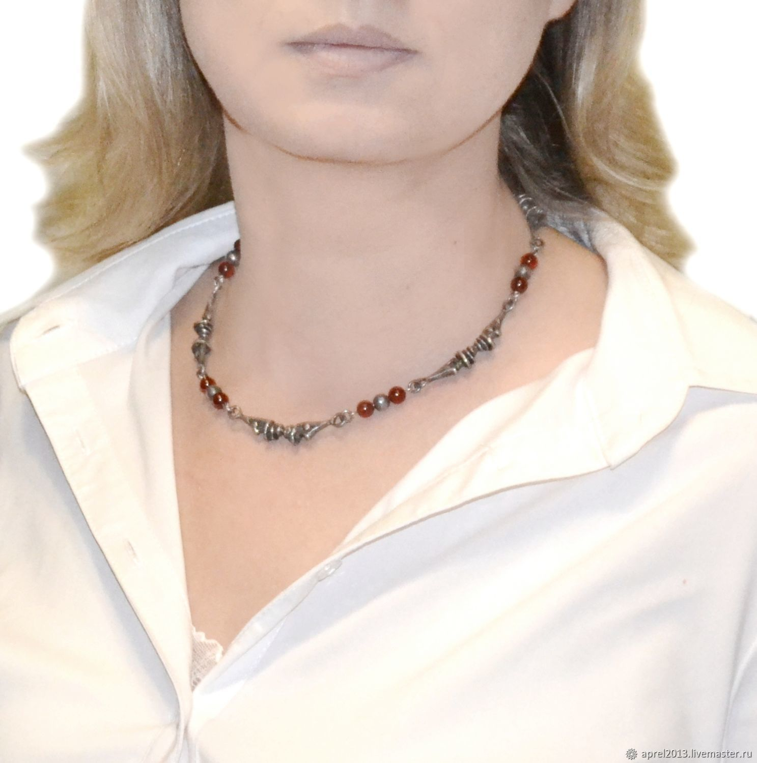 Silver necklace with garnet Rowan in the snow (spessartine, 925 sterling silver), Necklace, Sosnogorsk,  Фото №1