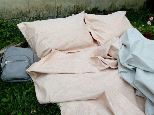 Текстиль, ковры ручной работы. Ярмарка Мастеров - ручная работа. Купить Постельное белье однотонное «Карамельная пастель» лен, комплект постел. Handmade.