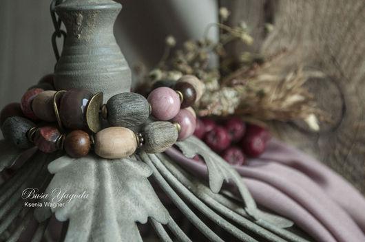 """Браслеты ручной работы. Ярмарка Мастеров - ручная работа. Купить Браслет """"Старый сад"""". Handmade. Серый, браслеты на резинке, родонит"""