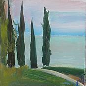 Картины и панно handmade. Livemaster - original item Picture. Abkhazia. Cypresses at dusk. Handmade.