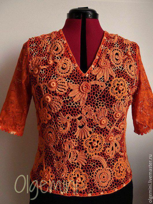 Кофты и свитера ручной работы. Ярмарка Мастеров - ручная работа. Купить Оранжевое лето. Handmade. Рыжий, топ
