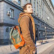 Сумки и аксессуары ручной работы. Ярмарка Мастеров - ручная работа Городской рюкзак зеленый с терракотовым. Handmade.