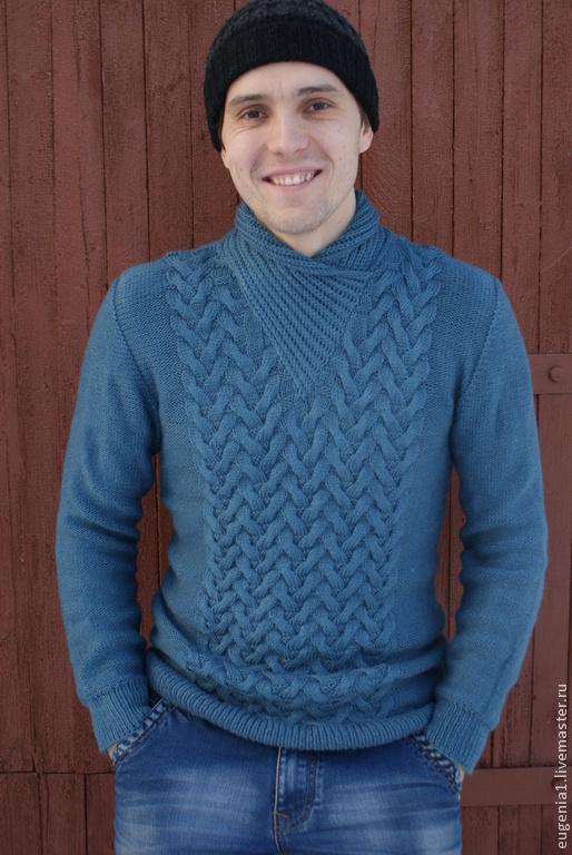 Кофты и свитера ручной работы. Ярмарка Мастеров - ручная работа. Купить Мужской свитер. Handmade. Синий, красивый свитер