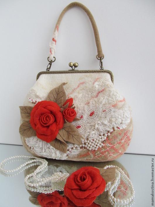 Женские сумки ручной работы. Ярмарка Мастеров - ручная работа. Купить сумка валяная Желанная. Handmade. Ярко-красный, любовь