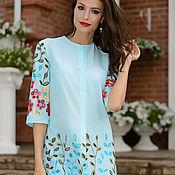 Одежда handmade. Livemaster - original item Blue cotton tunic with embroidery, beach tunic. Handmade.