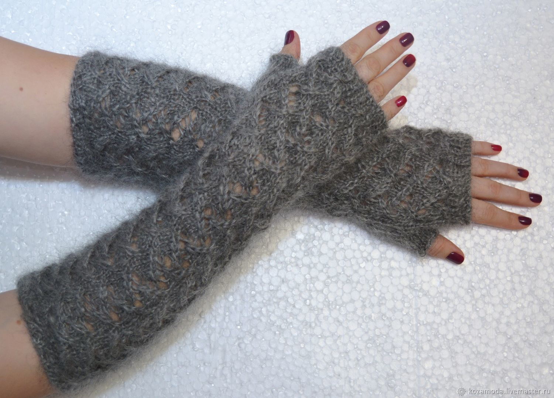 Feather grey knit fingerless gloves Avtoledi natural goat down, Mitts, Urjupinsk,  Фото №1