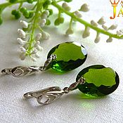 Украшения handmade. Livemaster - original item chrysolite. Earrings with chrysolite (peridot) 39.75 carats.. Handmade.