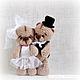 Подарки на свадьбу ручной работы. Ярмарка Мастеров - ручная работа. Купить мини мишки Жених и Невеста. Handmade. Чёрно-белый