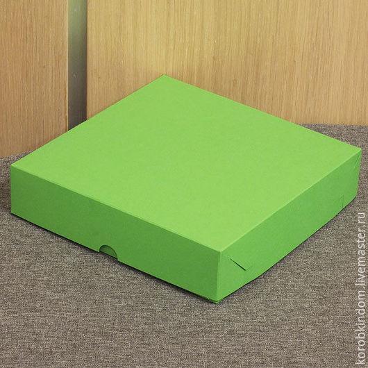 Упаковка ручной работы. Ярмарка Мастеров - ручная работа. Купить Коробка 16х16х3,5 крышка-дно зеленая. Handmade. Коробочка