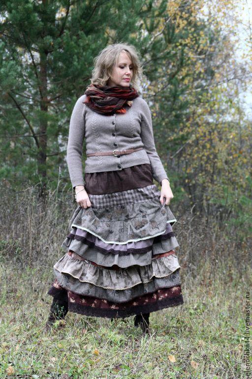 """Юбки ручной работы. Ярмарка Мастеров - ручная работа. Купить Длинная юбка бохо """"Кортадо"""". Handmade. Коричневый, богемный шик"""