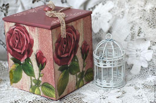 Корзины, коробы ручной работы. Ярмарка Мастеров - ручная работа. Купить Короб Розы декупаж розовый цветы. Handmade. Брусничный