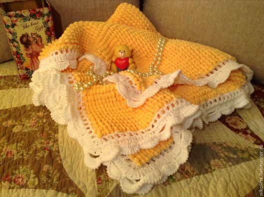 Для новорожденных, ручной работы. Ярмарка Мастеров - ручная работа. Купить Детский плед , одеяло для малыша. Handmade. Желтый