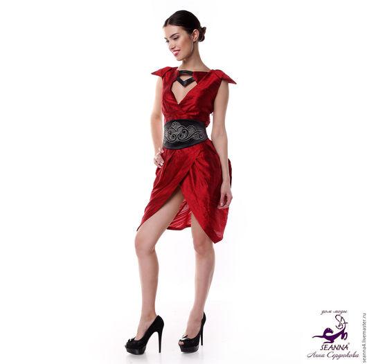 """Платья ручной работы. Ярмарка Мастеров - ручная работа. Купить Платье-туника шелковое """"Оригами"""" с отделкой кожей + пояс в подарок!. Handmade."""