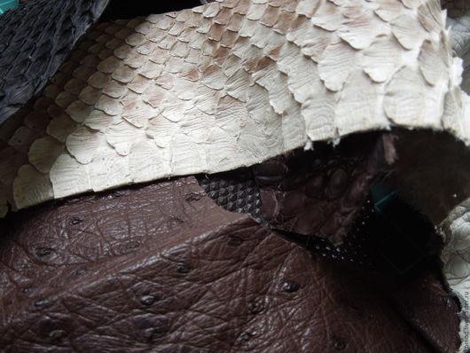 Шитье ручной работы. Ярмарка Мастеров - ручная работа. Купить Натуральная кожа экзотик микс (обрезки) №7. Handmade. Комбинированный