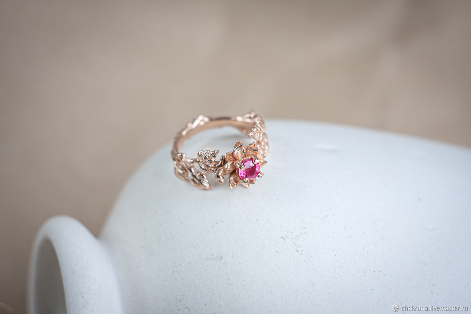 Gold ring 'Dezira' with natural ruby, Rings, Moscow,  Фото №1
