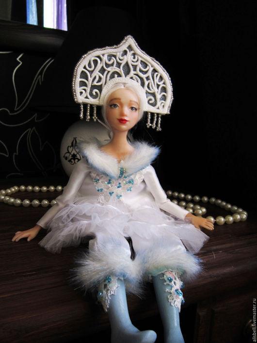 """Сказочные персонажи ручной работы. Ярмарка Мастеров - ручная работа. Купить будуарная кукла """"Снегурочка"""". Handmade. Белый, кокошник, болтушка"""