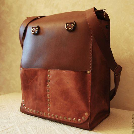 Сумка-рюкзак типа `Ранец` из натуральной кожи ручной работы. Logvi_bags