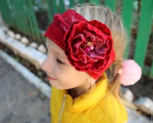 Шерстяная повязка с цветком ручной работы. Ярмарка мастеров - ручная работа. Handmade. Красный, детская, войлочная повязка, купить.