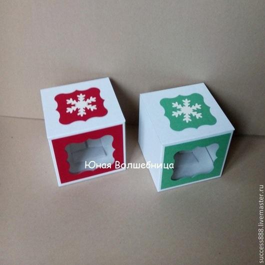 Новогодняя упаковка, коробка-кубик, коробка для елочного шара, подарочная упаковка, коробка с декором, красивая коробка, упаковка из микрогофрокартона