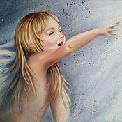 Картины и панно handmade. Livemaster - original item Oil painting with a girl angel To the light. Handmade.