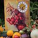 """Часы для дома ручной работы. Ярмарка Мастеров - ручная работа. Купить Панно с часами """"Дачные радости"""". Handmade. Часы настенные"""