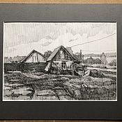 Картины и панно handmade. Livemaster - original item Picture: The village sketch is framed in Passepartout. Handmade.