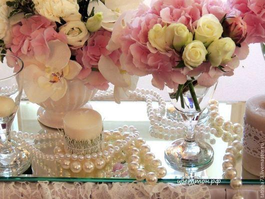 Свадебные цветы ручной работы. Ярмарка Мастеров - ручная работа. Купить Жемчужная свадьба. Handmade. Розовый, ангелы, живы цветы