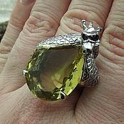 """Кольца ручной работы. Ярмарка Мастеров - ручная работа Эксклюзивное кольцо """"Хранитель Удачи"""" с нат. цитрином. Handmade."""