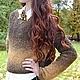 Вязаный коричневый свитер букле ручной работы `Цветной шоколад` от Sviteroff