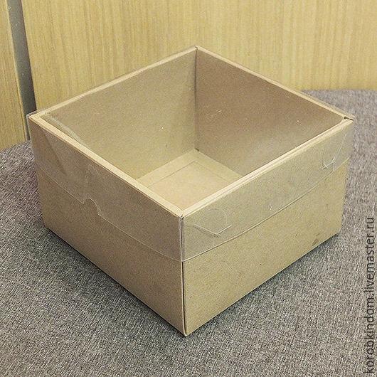 Упаковка ручной работы. Ярмарка Мастеров - ручная работа. Купить Коробочка 16х16х10 см крафт крышка-дно с прозрачной крышкой. Handmade.