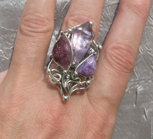 """Кольца ручной работы. Ярмарка Мастеров - ручная работа. Купить Кольцо """"Каменный Цветок"""". Handmade. Комбинированный, аметист камень, пирит"""