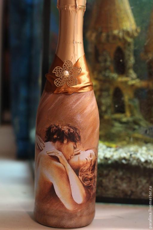 Подарочное оформление бутылок ручной работы. Ярмарка Мастеров - ручная работа. Купить Декор бутылки, подарок, декупаж. Handmade. Бутылка
