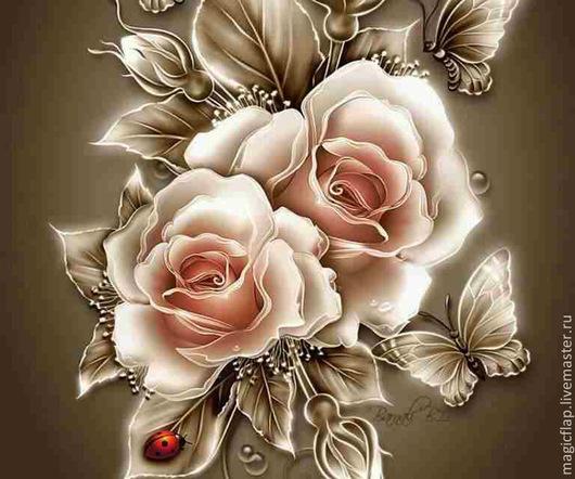 Вышивка ручной работы. Ярмарка Мастеров - ручная работа. Купить Алмазная вышивка (мозаика) Английские розы. Натюрморт с розами. Handmade.