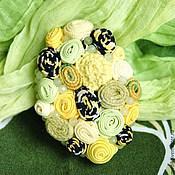 """Украшения ручной работы. Ярмарка Мастеров - ручная работа брошь """"Лимонная"""" желтая с зеленоватым кварцем. Handmade."""