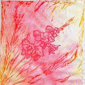 Шарфы ручной работы. Ярмарка Мастеров - ручная работа Шейный платочек с гладиолусом. Handmade.