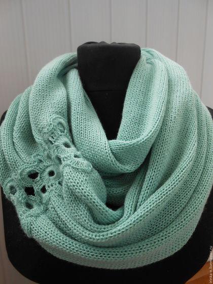 шарф-снуд вязаный , шарф-снуд мятный- шарф-снуд женский-,  шарф-снуд полушерстяной , машинное вязание , итальянская пряжа