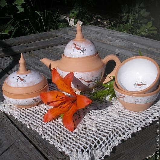 Чайники, кофейники ручной работы. Ярмарка Мастеров - ручная работа. Купить Чайный сервиз  Тысяча и одна ночь. Handmade. Бежевый