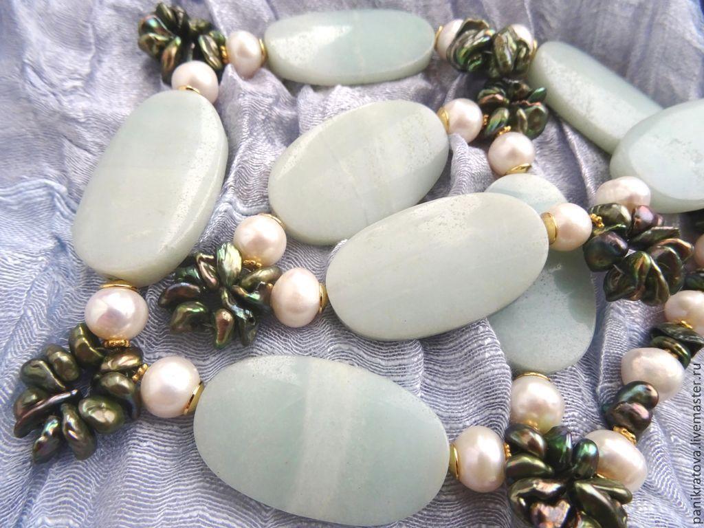 Necklaces & Beads handmade. Livemaster - handmade. Buy Necklace 'Blue lake' (amazonite, pearl).Handmade, amazonite, beautiful decoration