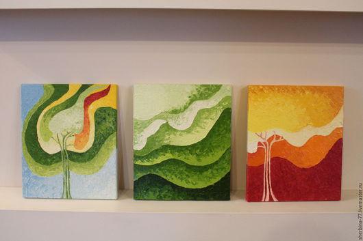 Абстракция ручной работы. Ярмарка Мастеров - ручная работа. Купить триптих. Handmade. Комбинированный, абстракция, триптих, яркий