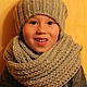 Set knitted Winter Not Scary, knitted hat, scarf - snud, Caps, Minsk,  Фото №1