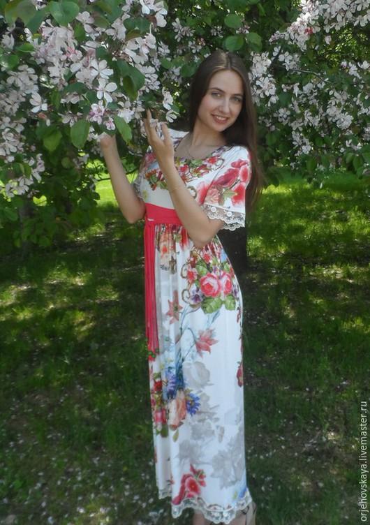 """Платья ручной работы. Ярмарка Мастеров - ручная работа. Купить Платье из вискозного трикотажа """"Радость цвета"""". Handmade. Белое"""