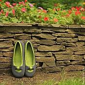 """Обувь ручной работы. Ярмарка Мастеров - ручная работа """"Бантики"""" валяные тапочки-балетки. Handmade."""