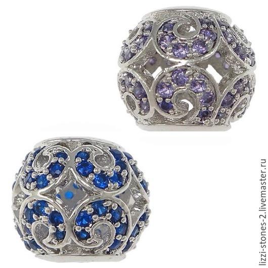 Бусина серебристая с синими и сиреневыми кристаллами(Milano) Евгения (Lizzi-stones-2)