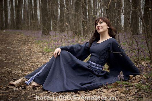Платья ручной работы. Ярмарка Мастеров - ручная работа. Купить Эльфийское платье, модель №1. Handmade. Эльфы, тёмно-синий