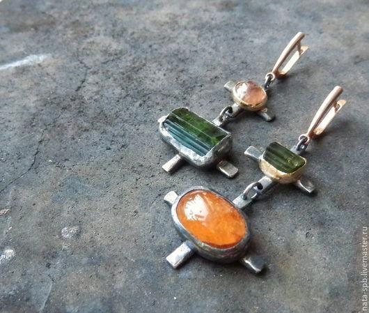 Серьги ручной работы. Ярмарка Мастеров - ручная работа. Купить AVENTINO серьги (турмалины, сапфир, серебро, золото). Handmade.