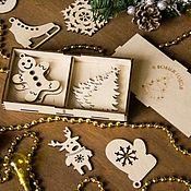 Подарки к праздникам ручной работы. Ярмарка Мастеров - ручная работа Деревянные ёлочные игрушки (2 ячейки). Handmade.
