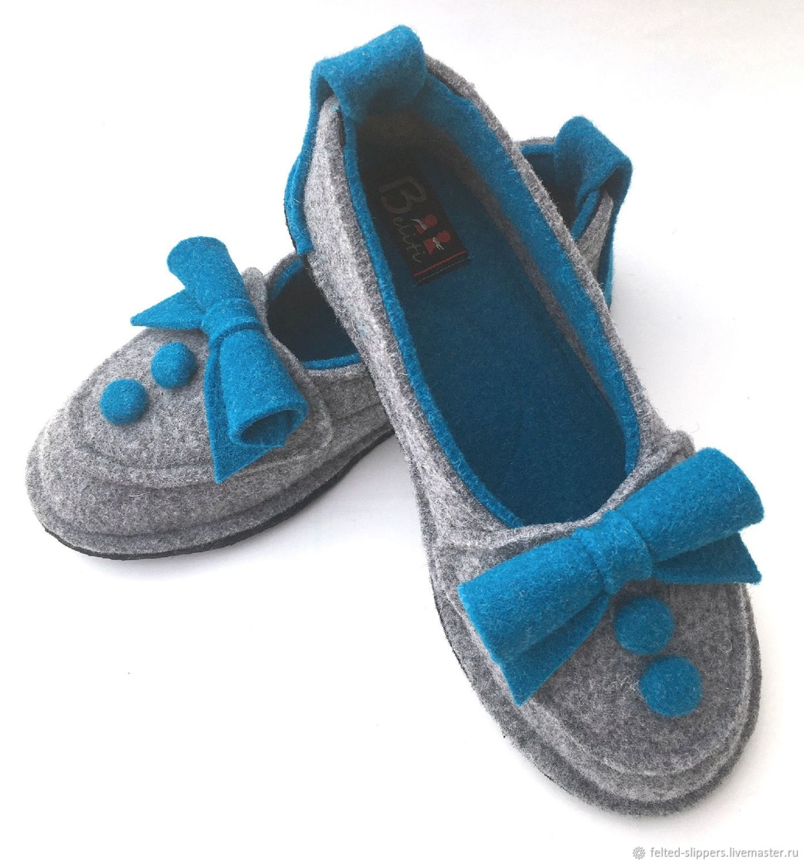 BERTA blue felt ballet flats, 100% wool, Slippers, Prague,  Фото №1
