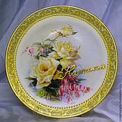 Посуда handmade. Livemaster - original item Vintage decorative plate roses 2 (decoupage). Handmade.