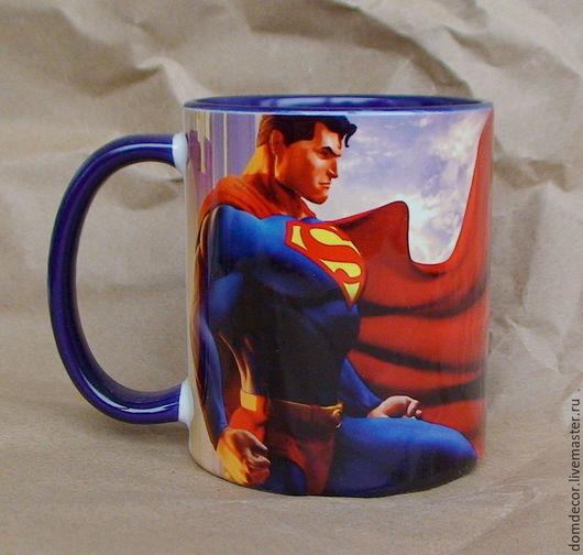 """Кружки и чашки ручной работы. Ярмарка Мастеров - ручная работа. Купить Чашка """"Супермен"""". Handmade. Синий, кружка, супермен, супергерой"""